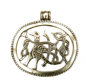 """Slotted pendant """"Bird with intertwined tail"""""""