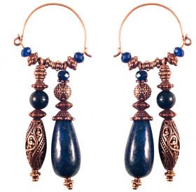 Double earrings with lapis lazuli
