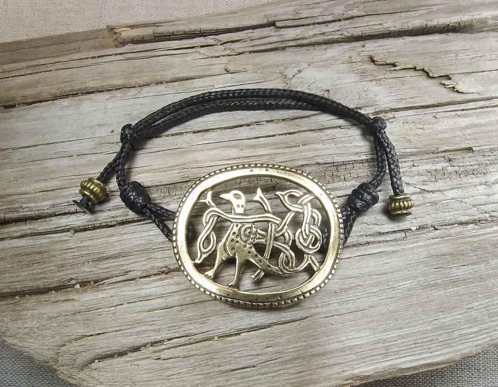 """Cord bracelet """"Bird with intertwined tail"""""""